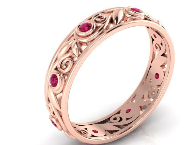 Valentine's Day Gifts, Valentine's Day Ring,  Vine and Leaf ring, Bridal band, Bridal ring, Ruby Eternity band, Her Wedding band, Rose gold by BridalRings on Etsy https://www.etsy.com/listing/261103113/valentines-day-gifts-valentines-day-ring