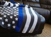 Thin Blue Line Flag Blanket Pattern by straighthookin on Etsy
