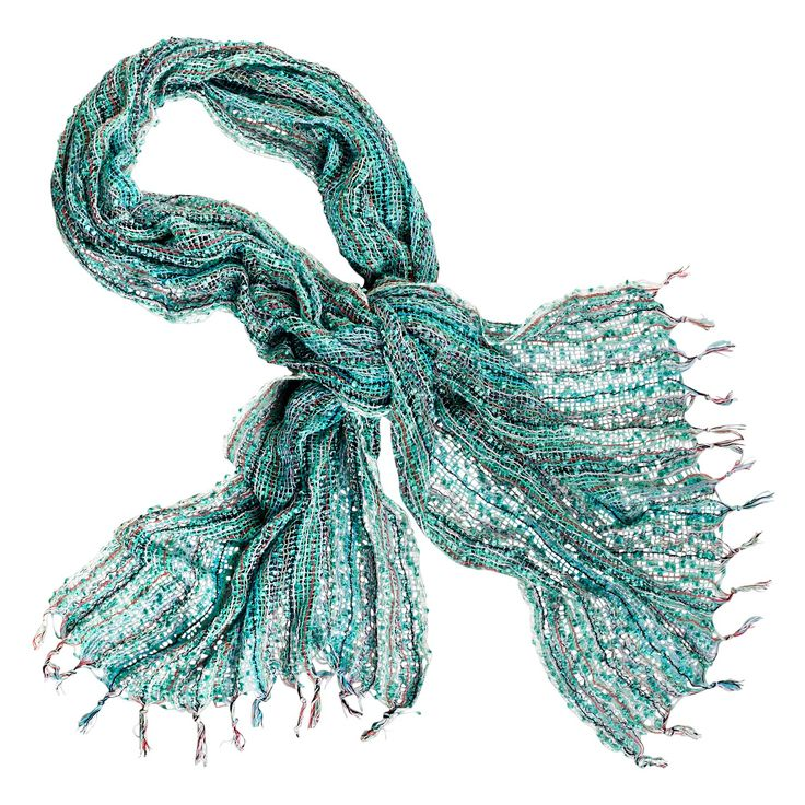 Aqua Open Weave Scarf