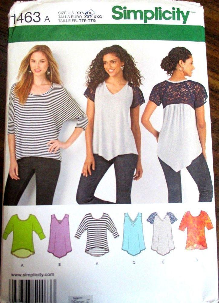 Simplicity Sewing Pattern No1463 Ladies Tops Size Xxs Xxl