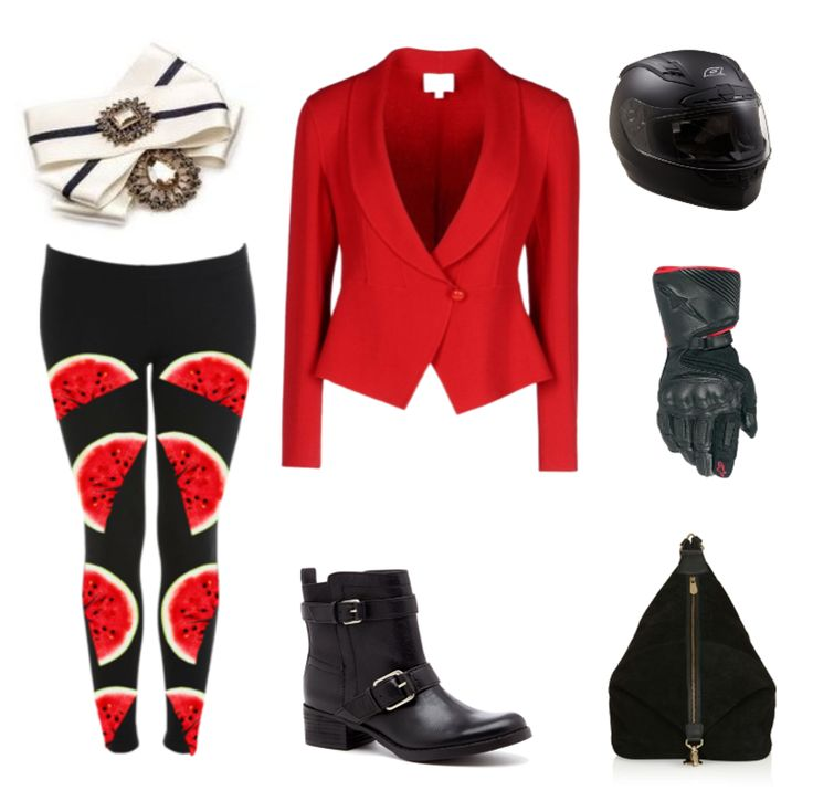 """Why fit in when you were born to stand out?""  (Watermelon Fruit Print Leggings etsy, ARMANI COLLEZIONI Shaped Jacket, Sole Society Kai motorcycle boot, Topshop backpack, O'Neal Fastrack II Motorcycle Helmet, brooch by House of April)"