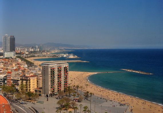 Barcelona shore and Medeterranean Sea  from the air. Travel photography by Diane Greene Lent