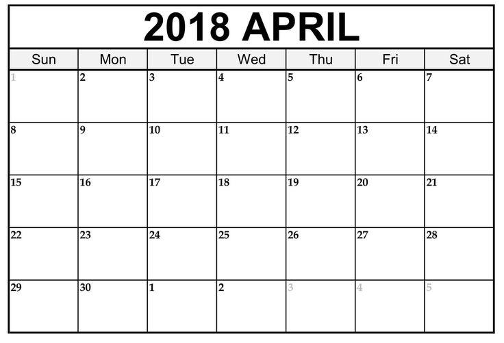 April 2018 Printable Calendar Free Blank April Calendar Holidays USA UK Canada 2018 April Printable Calendar  https://sourcetemplate.com/april-2018-calendar.html