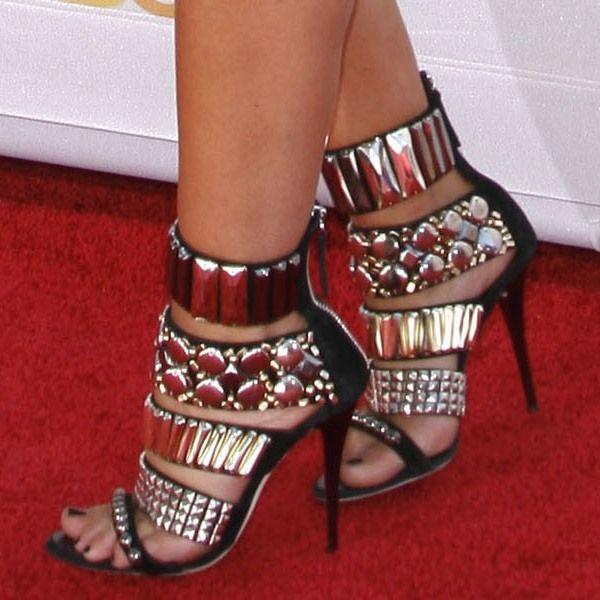 Audrina Patridge wearing Giuseppe Zanotti's zip cuffed jewel sandals