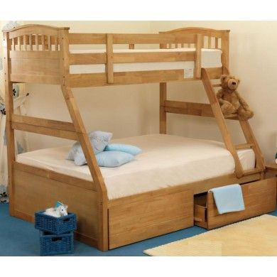The Apollo Triple Bunk is a versatile pair of beds with a single bunk on top and double below. This makes it great for when you have guests, as the beds can be used for a family as well as kids.