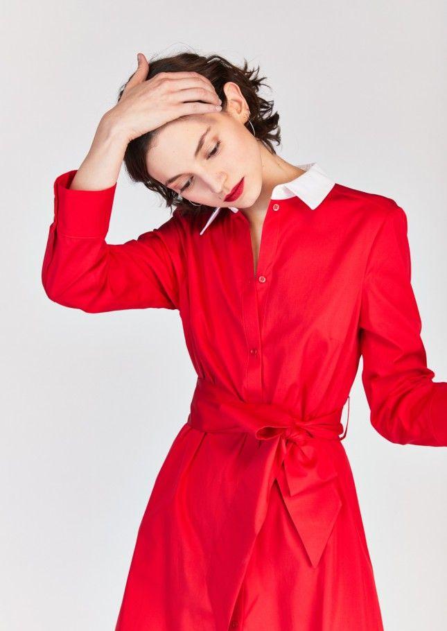 Robe rouge en coton - femme - tara jarmon 125euros