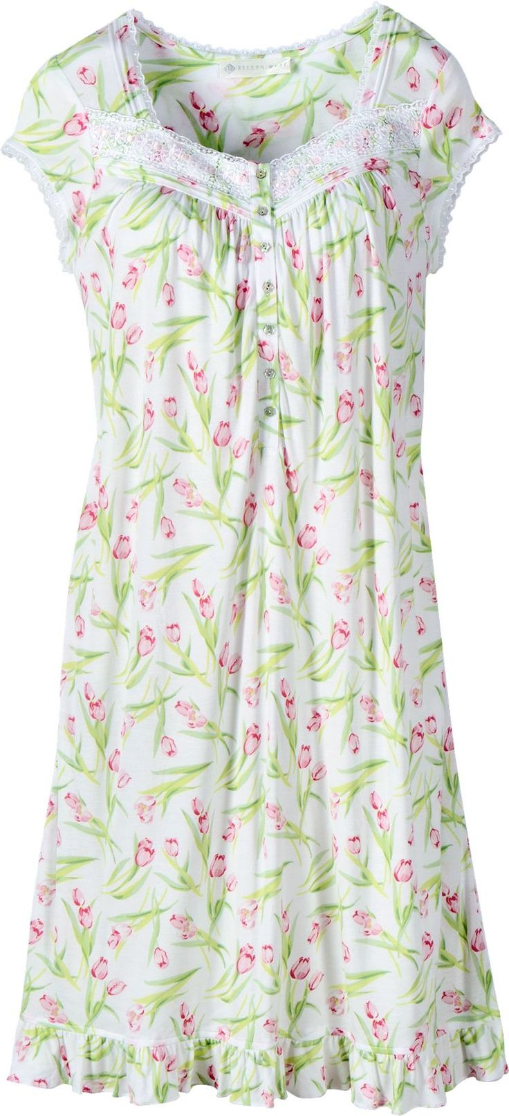 Eileen West Timeless Tulips Waltz Nightgown: You can't help but feel that spring is in the air with this nightgown adorned in spring's favorite flower and fashioned from a blend of cotton and modal for a fabric that moves with you and feels smooth and velvety soft against your skin.