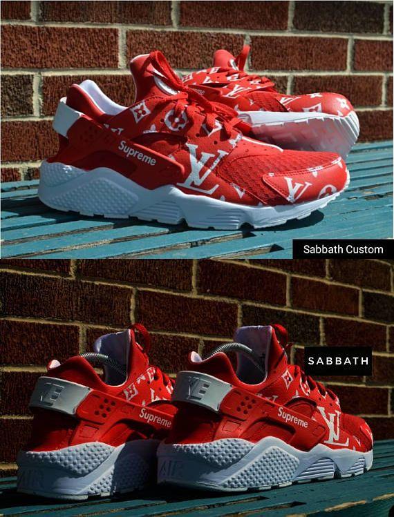 35ecff8a4eef custom hand painted nike huarache supreme louis vuitton LV sneakers  shoes