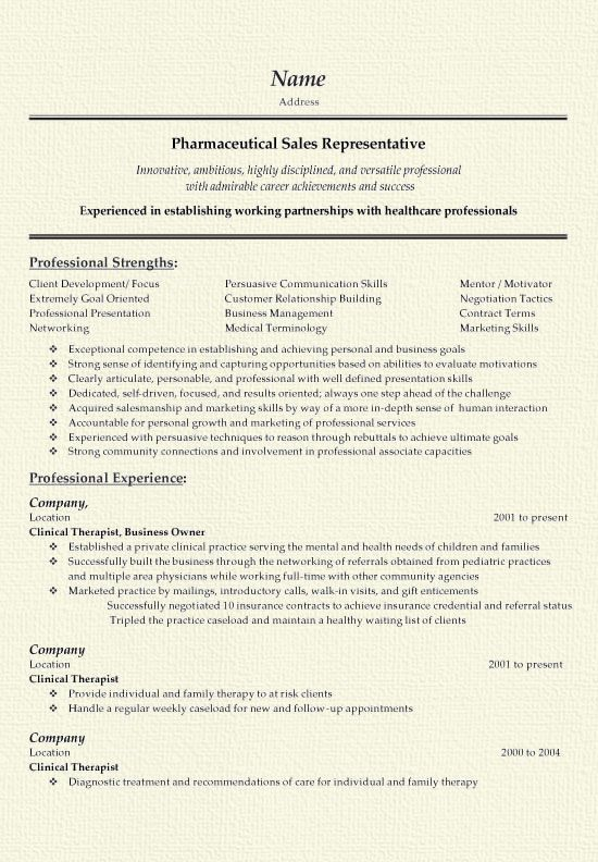 Pharma Sales Representative Resume Example