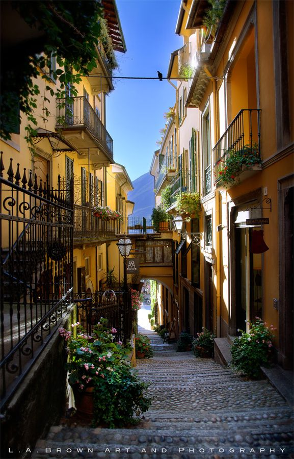 A beautiful alley in the town of Bellagio, Italy on Lake Como.