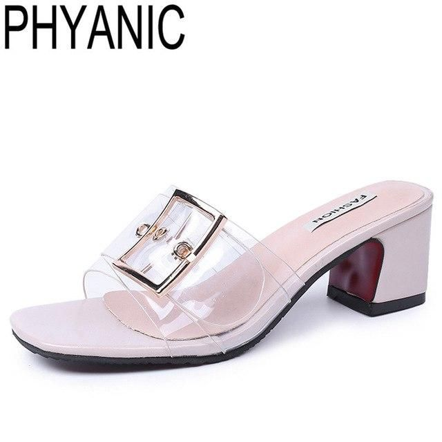 Ladies Peep Toe Mules Women High Heels Casual Office Slide Sandals Slip On Shoes