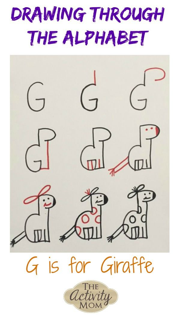 Teaching Kids How to Draw G is for Giraffe #beginningwriters #alphabet #lettersounds #writing #drawing #drawingforkids #kidsactivity #finemotorskills