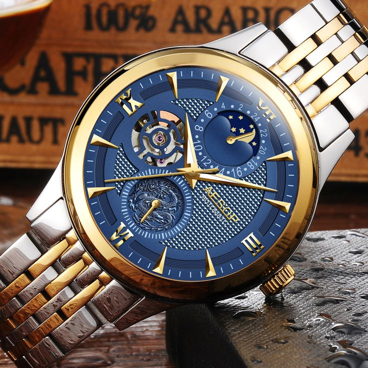 US $90.00 - Fashion AESOP Moon Phase watch men Stainless steel Automatic mechanical Sapphire waterproof date bule watch relogio masculino