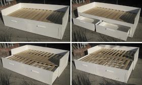 Brimnes Daybed - how it works, from twin to double bed, with two twin mattresses (stacked on top of each other as day bed)