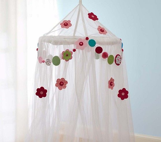Flower Tulle Canopy   Pottery Barn Kids - Pretty sure I could totally make this myself, right?