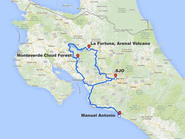 Arenal, Monteverde, Manuel Antonio driving route map
