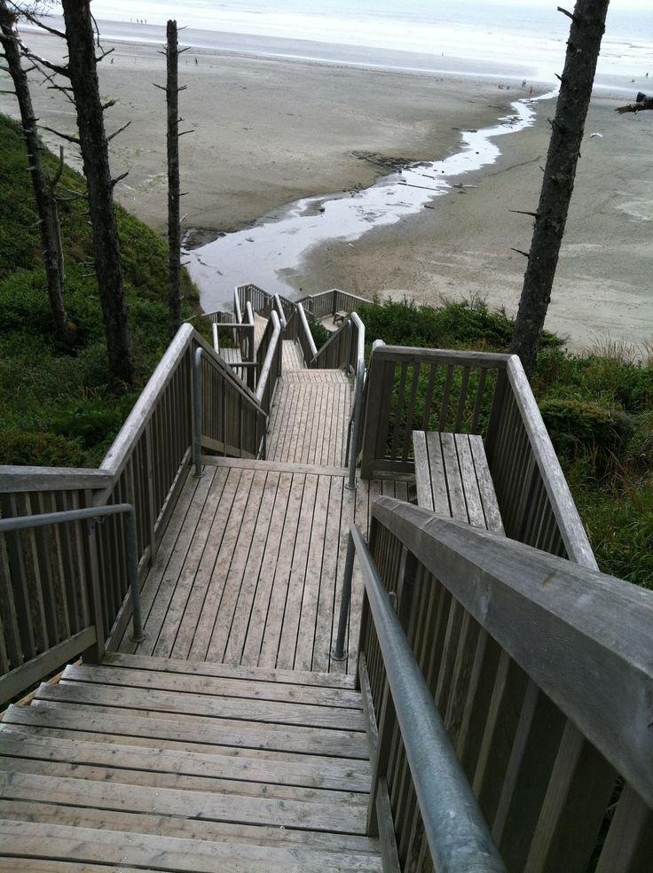 Seabrook Washington stair climbing and beach walking.