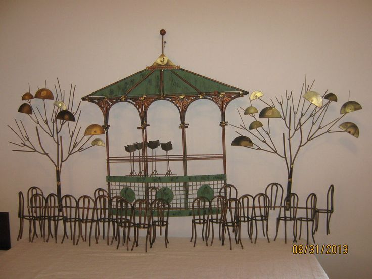 Trendy C Jere Signed Wall Sculpture Art Mid Century Modern Bandstand With Metal