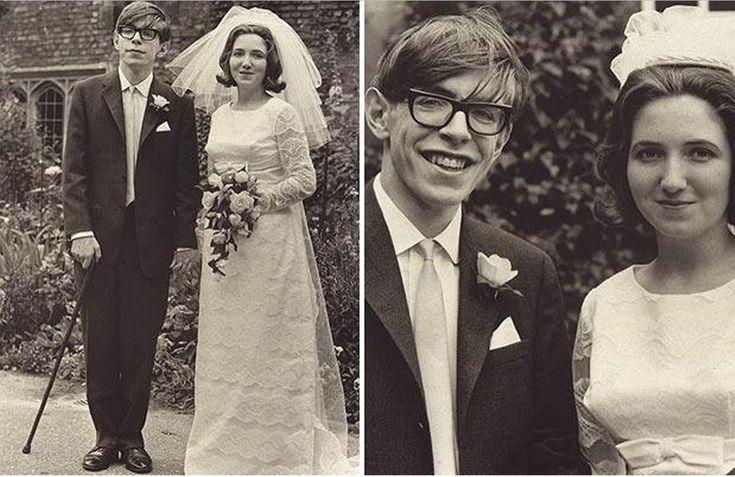 Великий физик Стивен Хокинг в день собственной свадьбы. Ещё сам ходит.