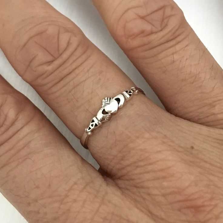Sterling Silver Tiny Claddagh Ring, Silver Rings, Ring