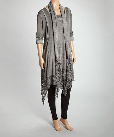 Gorgeous Gypsy Charcoal Floral Lace Tunic Set by Aziza Cruelty Free Self: 100% cotton Lace: 70% cotton / 30% polyamide Lining: 95% viscose / 5% elastane shirt, top , cardigan