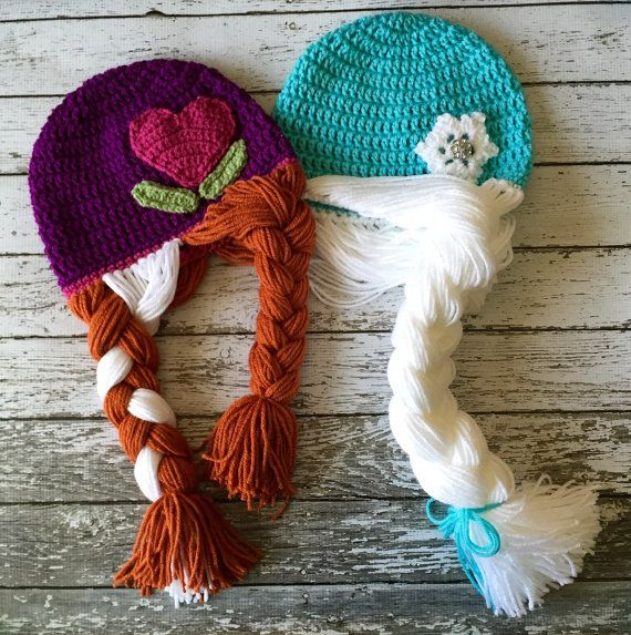 Anna and Elsa Inspired Hat/ Crochet Anna and by mamamegsyarnshoppe