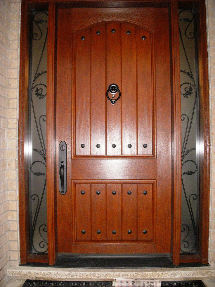Fiberglass 8 Plank Door With Decorative Clavos And Custom