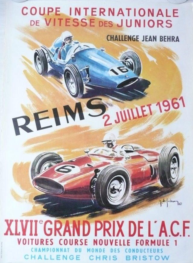 Affiche+originale+XLVII+Grand+prix+de+l'ACF+Reims+1961+-+Jean+DES+GACHONS