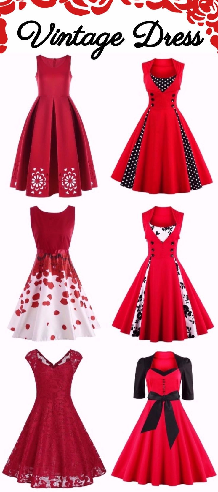 Red Vintage Dress | Party Dress | Sammydress.com