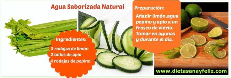 Desintoxica, limpia, nutre y refresca. ¡Prueba ya! Agua Saborizada Natural de apio, pepino y limón