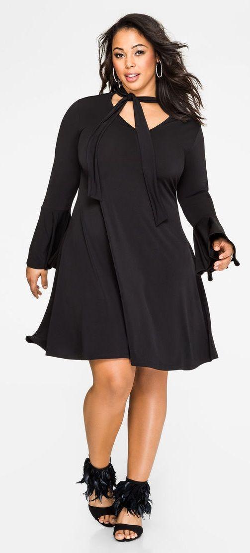 Plus Size Tie Neck Bell Sleeve Dress