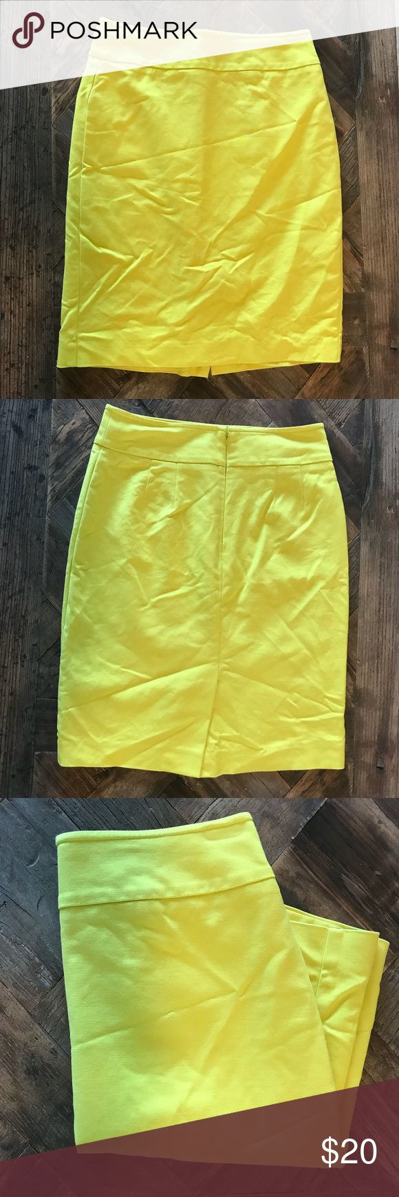 Chartreuse pencil skirt Pencil skirt from Ann Taylor in a fun, super bright chartreuse color, fully lined.  Pre loved but in good condition.    Looks great paired with a neutral blouse, or with a graphic tee and statement necklace for a fun business casual work outfit.     The wrinkles are from being folded, but will be steamed out before shipping! Ann Taylor Skirts Pencil