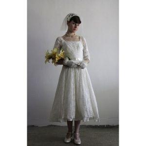 3 4 Sleeves Square Lace Tea Length Wedding Dress - Star Bridal Apparel by  lindsaywilliamsonz 932f50ced185