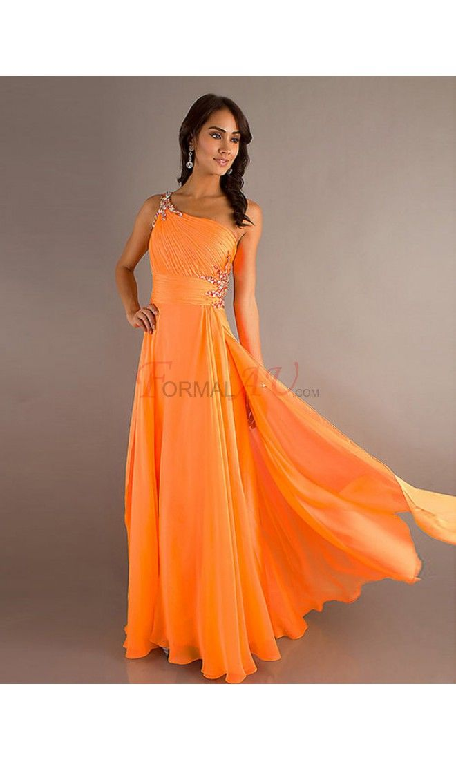 A-line One Shoulder Chiffon Formal Dresses/Long Evening Dresses with Ruffles FAU1404P801515 - Formalau.com
