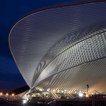 Spanish architect Santiago Calatrava has completed a station with a vaulted glass and steel canopy in Liege, Belgium.