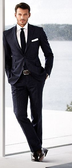 Black Pinstripe Suit with Black Tie & White Pocket square