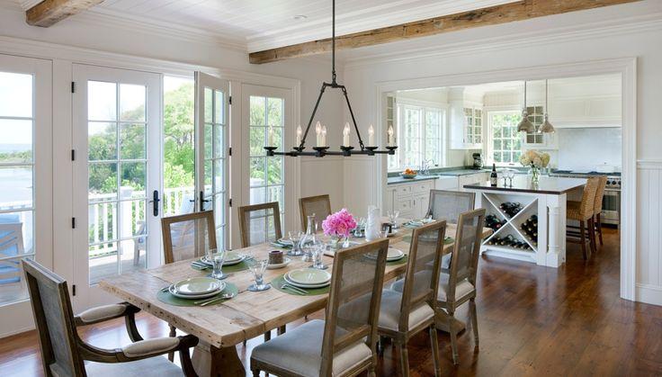 cottage dining room with chandelier restoration hardware cabot round