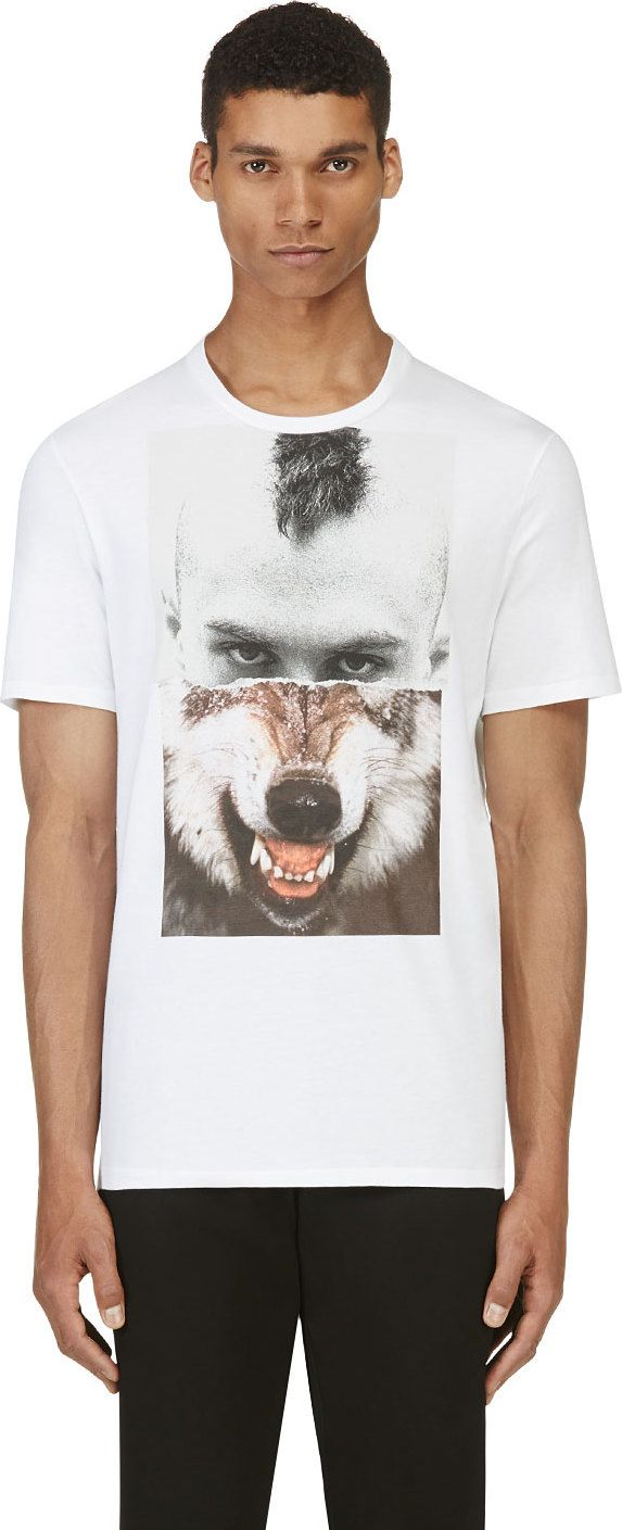 Neil Barrett: White Mohawk & Wolf T-Shirt