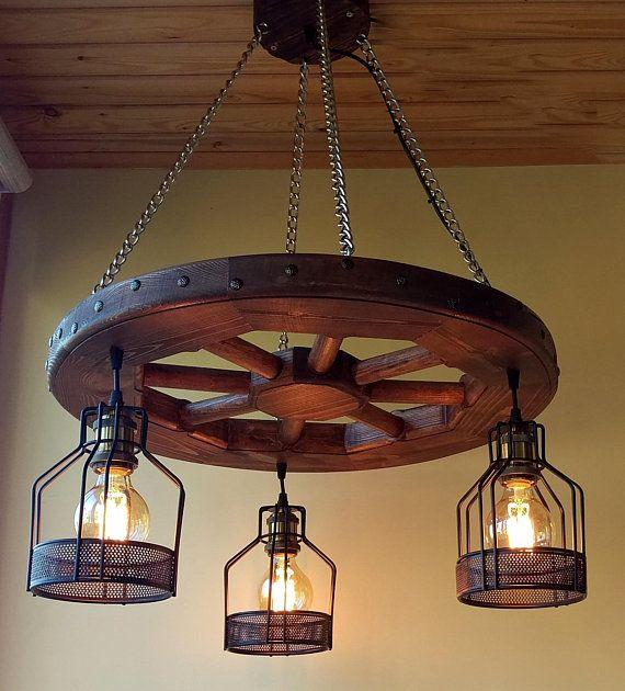 Rustic Lighting Wagon Wheel Chandelier Industrial Pendant