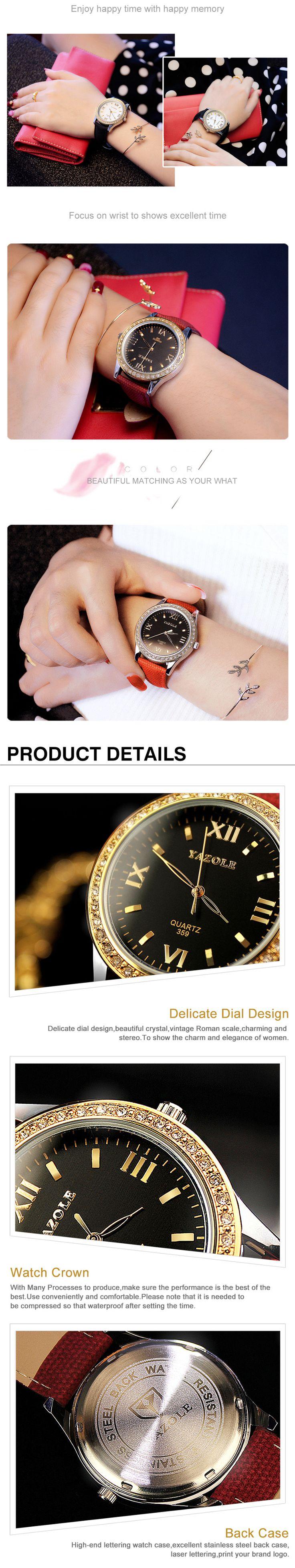 YAZOLE 359 Vintage Rhinestones Women Quartz Watch Fashion Leather Strap Wrist Watch