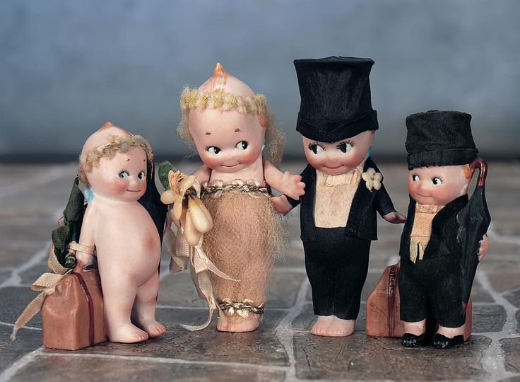German All-Bisque Kewpies with Wedding Theme