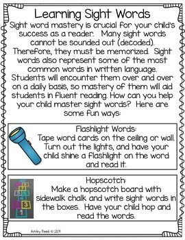 Sight Word Parent Packet Beginning Of The Year