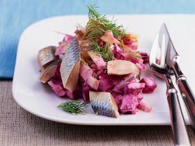 koken en bakken met Marcel: Haring salade haring en citroen rode bieten saus
