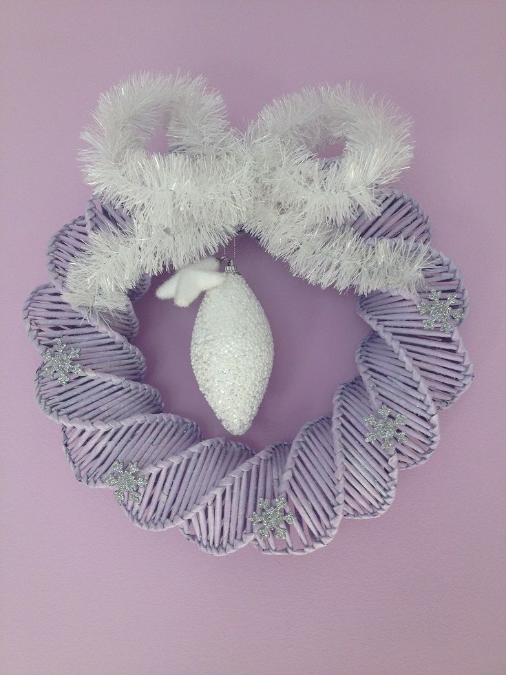 papierowa wiklina, wianek, Boże Narodzenie