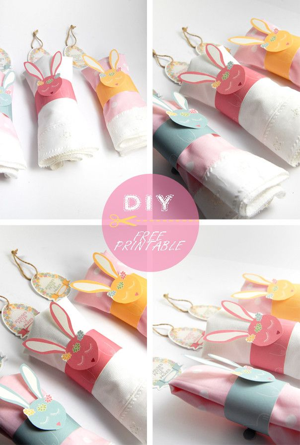 DIY Easter Bunny Napkin Rings Tutorial with FREE Printable Templates