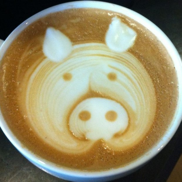 Bacon Latte at Moka House in Victoria, BC.  Not sure I'd want bacon in my latte, but the pig is cute.