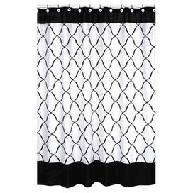 Cotton Shower Curtain With A Black And White Ogee Motif. Product: Shower  Curtain Construction