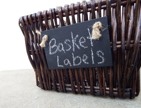 Keep your baskets neat and organized with these reusable chalkboard basket labels. The jute rope adds a rustic touch as well as a functional tie.