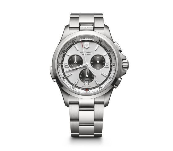 Victorinox Night Vision Chronograph en argent blanc, 42 mm - 241728