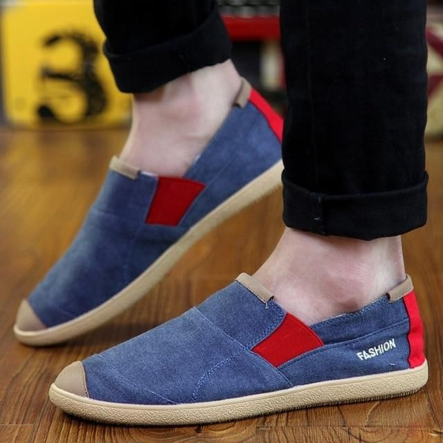 Men/'s New Denim Canvas Shoes Casual Flat Slip On Loafers Sports Driving Shoes